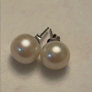Wow*vintage genuine huge white pearl earrings